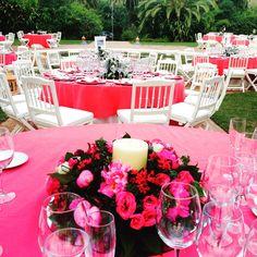 Fucsia y blanco, mesas de bodas, Finca la Concepcion