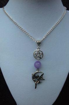 Purple Jade Faery Pentagram Necklace  The by SpeakingofWitchWands