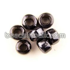 BIS-300-37 9x6mm Cylindrical Black Luster Pony Glass Beads 4mm hole (1lb - approx 649 beads) $11.63