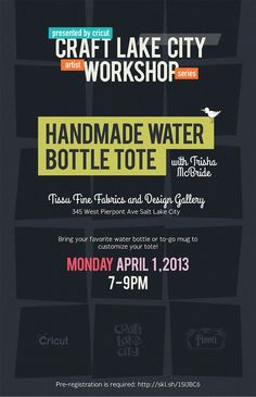 Craft Lake City has teamed up with Cricut to present the Artist Workshop Series on April 1, 2013. The workshop will be held at Tissu Fine Fabrics on 345 Pierpont Ave. Pre-registration is required, visit: http://skl.sh/15IJBC6 #DIY #CLCWorkshopSeries