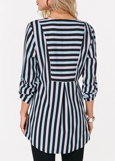trendy tops for women online on sale Long Sleeve Vintage Dresses, Black Curves, Trendy Tops For Women, Dress Sewing Patterns, Stripe Print, Black Blouse, Pattern Fashion, Blouse Designs, Fashion Dresses