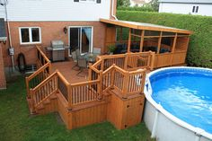 Rolling Deck La Couverture Terrasse Mobile De Piscine Et . Home and Family Pool Deck Plans, Patio Plans, Pergola Plans, Above Ground Pool Decks, In Ground Pools, My Pool, Swimming Pools Backyard, Patio Layout, House Deck