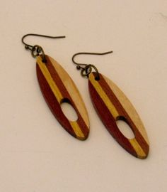 Exotic Wood Fashion Earrings in Purpleheart, Yellowheart, Mahogany and Maple by RCOriginalsGallery on Etsy, $14.00