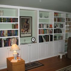 Built In Book Cases. This is EXACTLY what I've been thinking about doing in our new home. It has ZERO character and no place for storage. A wall unit like this would go a long way towards addressing both issues.
