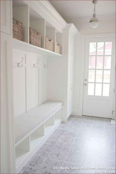 Mudroom with cement tile. White Mudroom with light grey cement tile. Everything … Mudroom with cement tile. White mudroom with light gray cement tile. Everything was perfectly designed in this mud room, but what really … Hall Deco, Home Renovation, Home Remodeling, Basement Renovations, Kitchen Remodeling, Mudroom Laundry Room, Bench Mudroom, Mudroom Cubbies, Mudroom Cabinets