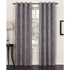 "Sun Zero Elixir Woven Wave Blackout 52"" x 95"" Panel ($67) ❤ liked on Polyvore featuring home, home decor, window treatments, curtains, frost, window coverings, blackout window curtains, blackout window panels and window curtain panels"