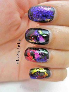 Galaxy / Rainbow Nail Foil Nail Art | chichicho~ nail art addicts Nails and Polish | Nail nail foil