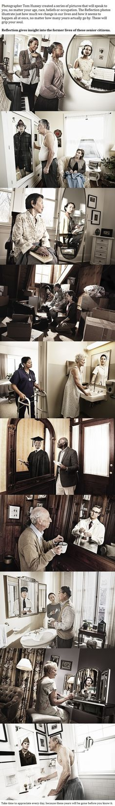 Reflection - When You Look Closely At These 10 Photos, You'll See Why They Mean So Much. My favorite is the woman being cared for by a nurse and in her reflection you can see she was once the nurse not the patient. I Smile, Make Me Smile, Break My Heart, Faith In Humanity Restored, To Infinity And Beyond, Photomontage, Looks Cool, Belle Photo, In This World