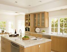Modern Island Style White kitchen, maple/beach cabinets,: