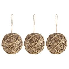 Natural Burlap Ball Ornaments with Rope