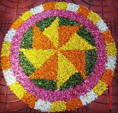 50 Most Beautiful Flower Rangoli Designs (ideas) that you can make during any occasion on the living room or courtyard floors. Rangoli Designs Latest, Latest Rangoli, Rangoli Designs Flower, Rangoli Ideas, Rangoli Designs Images, Easy Rangoli, Festival Decorations, Flower Decorations, Simple Flower Rangoli