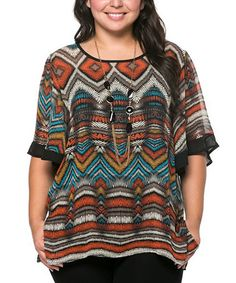 Another great find on #zulily! Orange Abstract Geo Cape-Sleeve Top & Necklace - Plus by Essential Collection #zulilyfinds