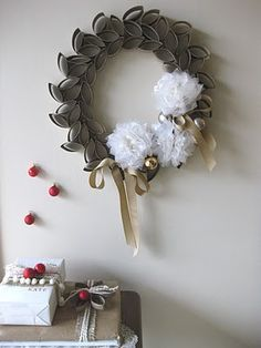 Home made wreath out of paper towel rolls