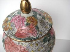 Ginger Jar Pink Floral Hand Painted Vintage by LIvintageNY on Etsy