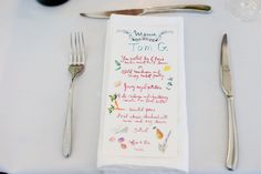 Menus doubled as place cards at dinner. The artist Happy Menocal, who created our invitations, designed them for us. Our caterer, Steven Burgess, has a wonderful restaurant in Liverpool called Camp and Furnace, so we hired him even though the party wasn't anywhere near Liverpool! We just felt his menu was perfect.