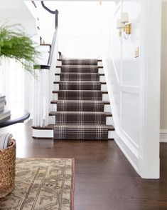 The September moodboard is live and you're going to want to get your hands on all the plaid and tartan decor. Tartan Stair Carpet, Carpet Stairs, Stairway Carpet, Staircase Runner, Modern Staircase, Staircase Ideas, Hallway Ideas, Tartan Decor, Tartan Plaid