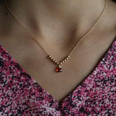 Delicate Red Sapphire Necklace by ATELIER Gaby Marcos