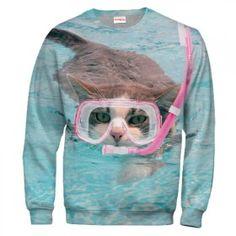 CAT IN SWIMMING MASK Bluza Bez Kaptura