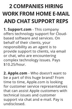 2 Companies Hiring Work From Home E-Mail And Chat Support Reps - Wisdom Lives Here