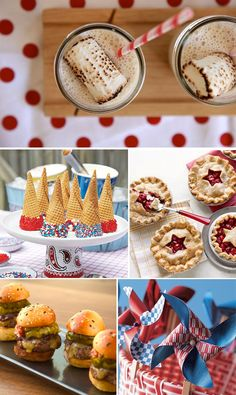 Toasted Marshmallow Milkshakes, patriotic sprinkled ice cream cones, mini fruit pies & mini prime cheeseburgers