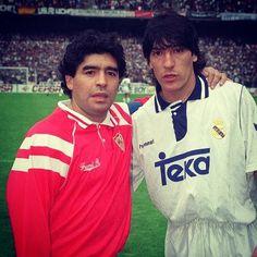 Diego Maradona (Sevilla) vs. Ivan Zamorano (Real Madrid) #old_school_football