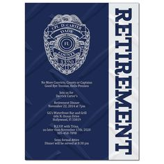 Police officer retirement invitation with badge number do it retirement dinner police sheriff officer good bye navy blue solutioingenieria Images