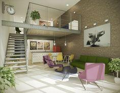 visualization of an old industrial building revitalized for lofts with mezzanine Casa Loft, Loft House, Loft Interior Design, Loft Design, Interior Architecture, Lofts, Loft Mezzanine, Modern Apartment Decor, Style Loft