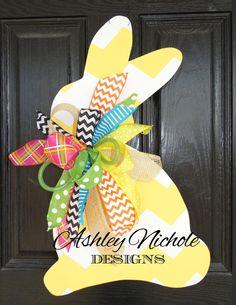 Customizable Bunny Door Hanger Easter by DesignsAshleyNichole