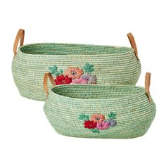 Big Oval Pastel Green Raffia Basket with Hand Embroidered Flowers and Leathe