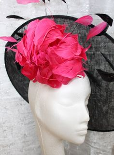 Large Black Saucer Hat with Pink/white Peony Flower