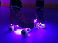 Pair of self-adhesive stick on lighting strips to enhance your roller skates, helmet or whatever you can think of fixing then on to! Super bright