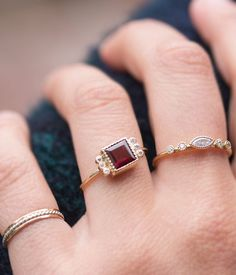 Audrey Rose 14k gold garnet ring with 6 diamonds