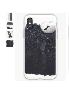 #phonecover #phonecases #iphonexscase #animalphonecase #cutephonecase #designerphonecase #blackcatart #cat #moon #stars #night #bat #redbubble