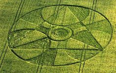 Crop Circle - geometric layout with glyph center 1997