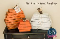 A tutorial on how to make these easy Rustic Wood Pumpkins. DIY Fall Decor