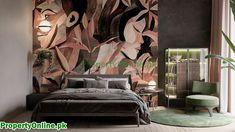 Colorful Bedroom Designs & Ideas Feature Wall Design, Feature Wall Bedroom, Bedroom Wall Colors, Arty Bedroom, Bedroom Red, Modern Bedroom, Modern Mirror Design, Cool Color Palette, Cool Bookshelves