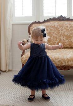 Navy Flower Girl Dress 275x400 Preppy Virginia Country Club Wedding Ceremony: Katharine + Brad