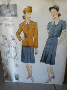1940 Vintage Vogue Jacket and Dress Pattern 2196 by RobinsRetro, $21.00