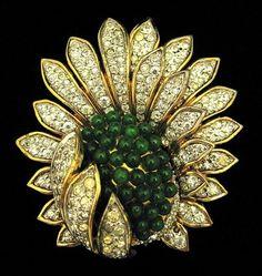 Jomaz rhinestone and green glass brooch