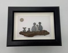 Excited to share this item from my shop: Pebble Art Pet Family 5 by 7 framed Pebble Art Family, Family Of Three, Lake Huron, 5 To 7, Couple Art, Shadow Box, Brown And Grey, Art Pieces, Just For You