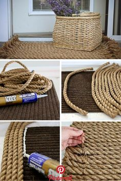 Here are 35 very easy DIY rug ideas with tutorials for you to start making your own rug right now. The majority of them don't even require sewing. Check these out! House design 35 Easy DIY Rug Ideas You Can Make Right Now Rope Crafts, Diy Home Crafts, Twine Crafts, Decor Crafts, Fabric Crafts, Diy Simple, Easy Diy, Rope Rug, Rope Basket