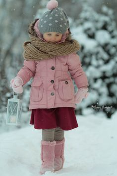 ~Pink Winter~ by Laura Lakstedt on Winter Outfits For Girls, Little Baby Girl, Winter Gear, Precious Children, Red Boots, Kids Coats, Winter Kids, Pink Christmas, Kid Styles