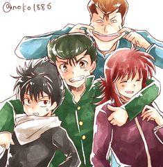 Hiei, Yusuke, Kuwabara, and Kurama #hug