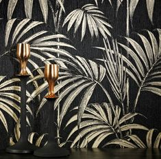 Graham & Brown Julien macdonald honolulu Black Foliage Glitter effect Embossed Wallpaper - B&Q for all your home and garden supplies and advice on all the latest DIY trends Wallpaper Art Deco, Palm Leaf Wallpaper, Of Wallpaper, Designer Wallpaper, Pattern Wallpaper, Black Gold Jewelry, Gold Bedroom, Embossed Wallpaper, Graham Brown