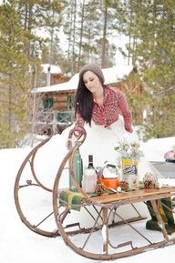 rustic camp style winter bride - love the flannel shirt!  #countrybride #country #rustic #rusticbride #rusticwedding #countrywedding #bridal