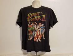 Street Fighter II Adult Black XL T-Shirt #StreetFighter #GraphicTee