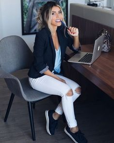 52 Ideas For Clothes For Work Offices Business Jeans Casual Outfits For Work Office Wear, Office Outfits Women, Business Casual Outfits, Classy Outfits, Look Office, Office Looks, Formal Looks, Casual Looks, Work Fashion