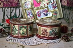 Set of 2 boxes.  Small wooden storage boxes are made in the decoupage art in vintage style. The outer surface is covered with several layers of