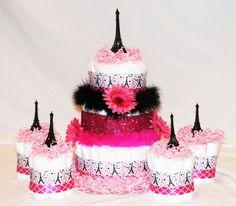 Paris Baby Shower Centerpiece / Girls PINK & BLACK Diaper ... |Eiffel Tower Diaper Cake