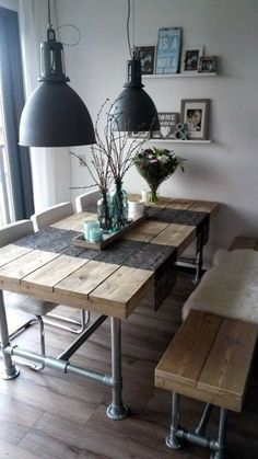 Industrial Look - 26 stylish furniture made of pipe connectors- Industrial Look – 26 stylische Möbel aus Rohrverbindern Build a table from pipes - Decor, House Interior, Stylish Furniture, Furniture, Furnishings, Interior, Farmhouse Table, Farmhouse Dining Table, Home Decor